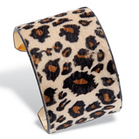 Leopard Print Faux Suede Gold Tone Wide Cuff Bracelet ONLY $18.99