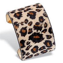 Leopard Print Faux Suede Gold Tone Wide Cuff Bracelet 8