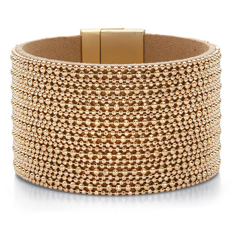 Beaded Multi-Row Leather Wide Magnetic Bangle Bracelet in Gold Tone 7.5