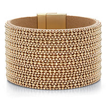 Beaded Multi-Row Leather Wide Magnetic Bangle Bracelet in Gold Tone 7.5""