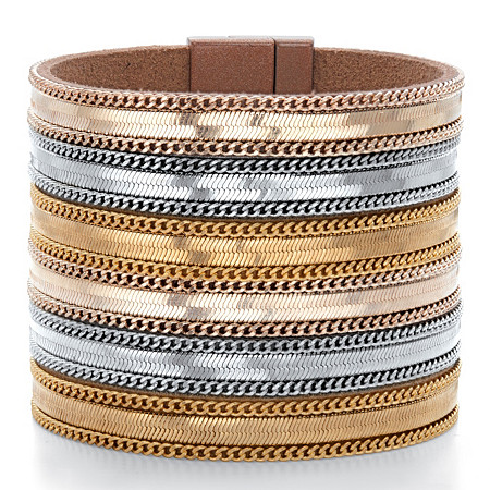 "Tri-Tone Multi-Row Gold Tone, Rose Tone and Silvertone Magnetic Leather Wide Band Bangle Bracelet 7.5"" at PalmBeach Jewelry"