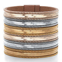 Tri-Tone Multi-Row Gold Tone, Rose Tone and Silvertone Magnetic Leather Wide Band Bangle Bracelet 7.5