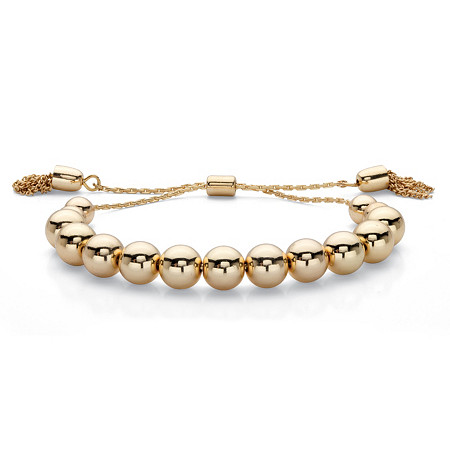 "Polished Graduated Bead and Fringe Adjustable Bolo Bracelet in Gold Tone 7.25"" at PalmBeach Jewelry"
