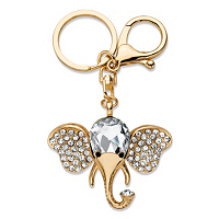 Round And Pear-Cut Crystal Elephant Key Ring ONLY $12.99