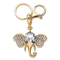 Round and Pear-Cut Crystal Elephant Key Ring in Gold Tone 4""