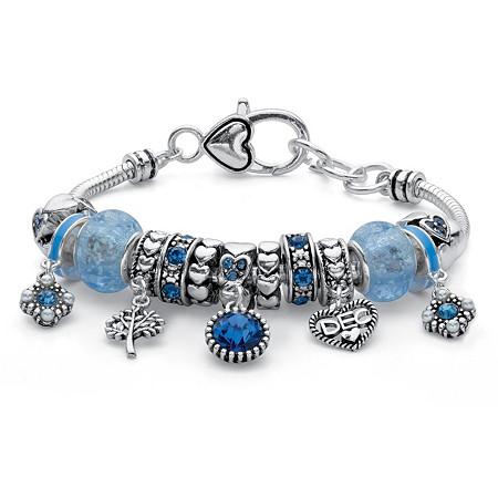 Birthstone Crystal Bali-Style Beaded Charm Bracelet in Antiqued Silvertone 8