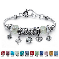 Simulated Birthstone Crystal Bali-Style Beaded Charm Bracelet in Antiqued Silvertone 8""