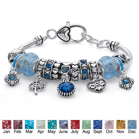 "Simulated Birthstone Crystal Bali-Style Beaded Charm Bracelet in Antiqued Silvertone 8"" at PalmBeach Jewelry"