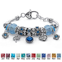 Birthstone Crystal Bali-Style Beaded Charm Bracelet in Antiqued Silvertone 8""