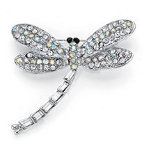 Round and Baguette-Cut Aurora Borealis Crystal Dragonfly Brooch Pin in Silvertone 1 5/8