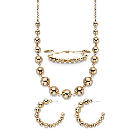 """Polished Graduated Beaded 3-Piece Demi-Hoop Earring, Necklace and 7.25"""" Adjustable Bolo Bracelet Set 17""""-20"""" at PalmBeach Jewelry"""