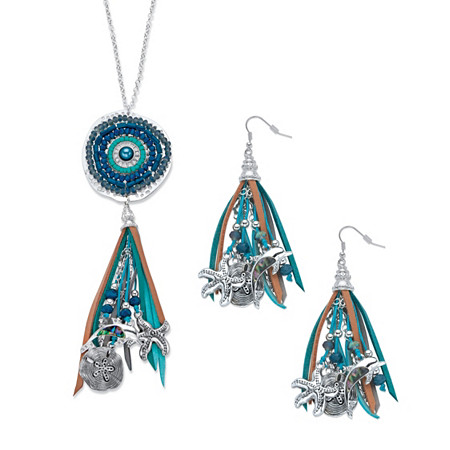 """Simulated Peacock Pearl and Grey Crystal Beaded Ocean Fringe Earring and Necklace Set in Antiqued Silvertone 32""""-34"""" at PalmBeach Jewelry"""