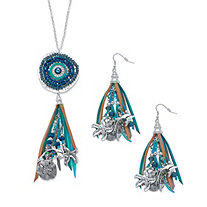 "Simulated Peacock Pearl and Grey Crystal Beaded Ocean Fringe Earring and Necklace Set in Antiqued Silvertone 32""-34"""