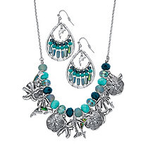 "Blue Beaded Simulated Turquoise and Crystal 2-Piece Dolphin and Ocean Theme Earring and Necklace Set in Silvertone 17""-19"""