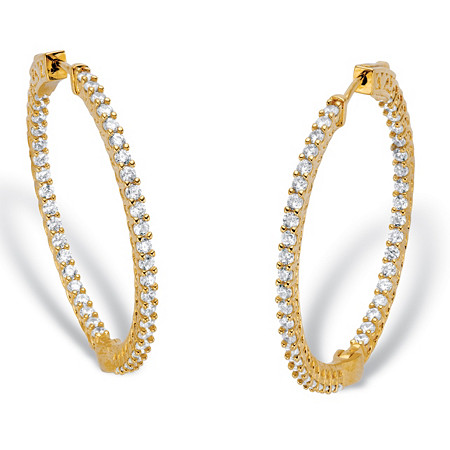 "Round Cubic Zirconia Inside-Out Hoop Earrings 2.77 TCW 14k Gold-Plated 1.5"" at PalmBeach Jewelry"