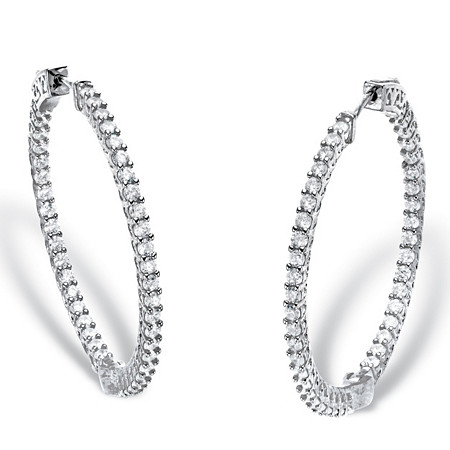 """Round Cubic Zirconia Inside-Out Hoop Earrings 2.77 TCW in Silvertone 1.5"""" at PalmBeach Jewelry"""