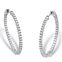 Round Cubic Zirconia Inside-Out Hoop Earrings 2.77 TCW in Silvertone 1.5""