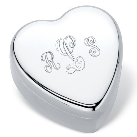 "Personalized Inscribed Heart-Shaped Gift Box in Silvertone 1.5"" at PalmBeach Jewelry"