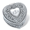 Related Item Personalized Heart-Shaped Scrolled Hinged Jewelry Box in Antiqued Stainless Steel 3