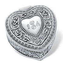 Personalized Heart-Shaped Scrolled Hinged Jewelry Box in Antiqued Stainless Steel 3""