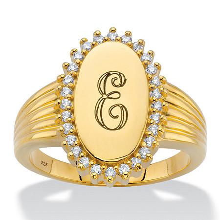 Personalized Round Cubic Zirconia Oval I.D. Signet Initial Halo Ring .28 TCW in 18k Gold over Sterling Silver at PalmBeach Jewelry