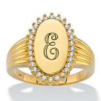 Personalized Round Cubic Zirconia Oval I.D. Signet Initial Halo Ring .28 TCW in 18k Gold over Sterling Silver