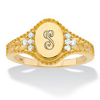 Personalized Round Cubic Zirconia Oval I.D. Signet Initial Ring .12 TCW in 18k Gold over Sterling Silver