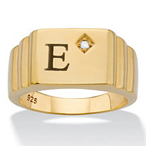 Men's Diamond Accent Step-Top I.D. Initial Ring in 18k Gold over Sterling Silver
