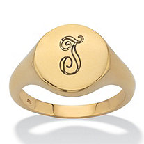 Personalized Round I.D. Signet Ring in 18k Gold over Sterling Silver