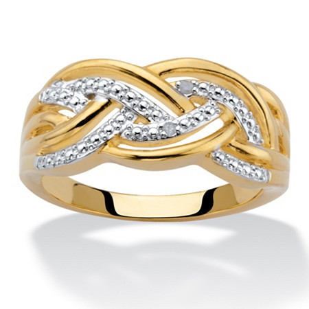 Diamond Accent Braided Ring 18k Gold-Plated at PalmBeach Jewelry