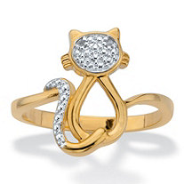 Diamond Accent Openwork Cat Ring 18k Gold-Plated