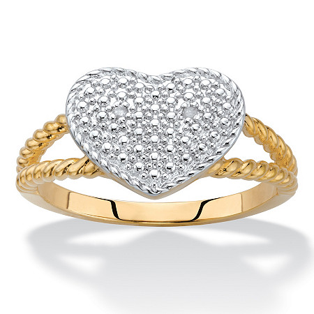 Diamond Accent Heart Ring 18k Gold-Plated at PalmBeach Jewelry