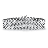 Diamond Accent Panther-Link Bracelet in Silvertone 7.25""