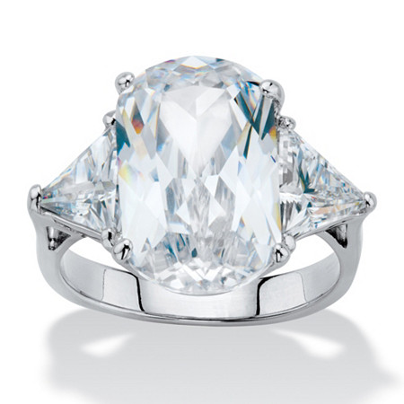 Oval and Trillon-Cut Cubic Zirconia Engagement Ring 11.52 TCW Platinum-Plated at PalmBeach Jewelry