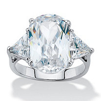 SETA JEWELRY Oval and Trillon-Cut Cubic Zirconia Engagement Ring 11.52 TCW Platinum-Plated