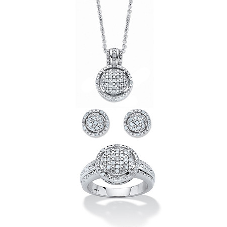 """Round Pave Diamond 3-Piece Cluster Floating Halo Set 1/3 TCW in Platinum over Sterling Silver 18""""-20"""" at PalmBeach Jewelry"""