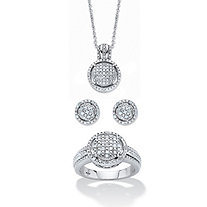 "1/3 TCW Round Pave Diamond 3-Piece Cluster Floating Halo Set in Platinum over Sterling Silver 18""-20"""