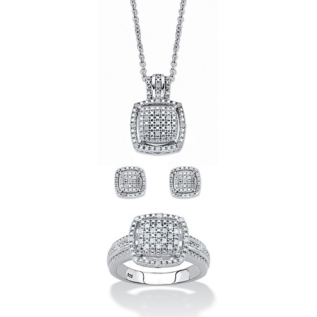 """Round Diamond 3-Piece Squared Cluster Halo Set 3/8 TCW in Platinum over Sterling Silver 18""""-20"""" at PalmBeach Jewelry"""