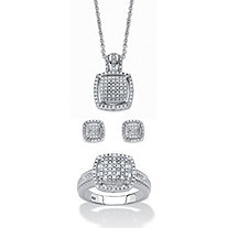 "Round Diamond 3-Piece Squared Cluster Halo Set 3/8 TCW in Platinum over Sterling Silver 18""-20"""