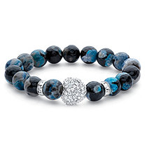 SETA JEWELRY Black and Blue Beaded White Crystal Accent Stretch Bracelet in Silvertone 7