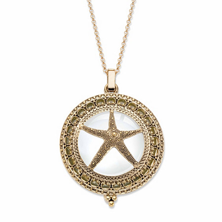 "Starfish Magnifying Glass Locket Medallion Necklace in Antiqued Gold Tone 32""-34"" at PalmBeach Jewelry"