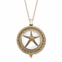 Starfish Magnifying Glass Locket Medallion Necklace