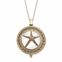 Starfish Magnifying Glass Locket Medallion Necklace in Antiqued Gold Tone 32