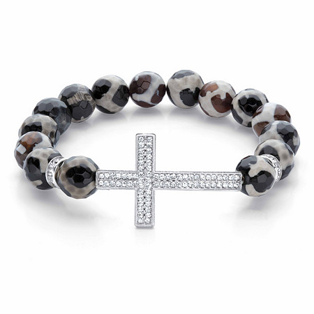 """Crystal Horizontal Cross Black and White Beaded Stretch Bracelet in Silvertone 7.5"""" at PalmBeach Jewelry"""