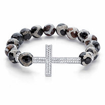 Crystal Horizontal Cross Black and White Beaded Stretch Bracelet in Silvertone 7.5""