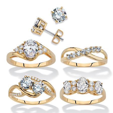 Round Cubic Zirconia 5-Piece Stud Earring and Ring Set 18.23 TCW 14k Gold-Plated at PalmBeach Jewelry
