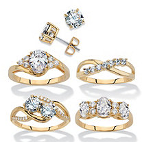 Round Cubic Zirconia 5-Piece Stud Earring and Ring Set 18.23 TCW 14k Gold-Plated
