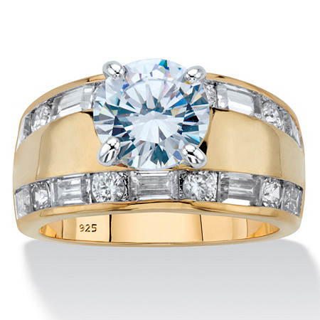 Round and Baguette-Cut Cubic Zirconia Engagement Ring 4.78 TCW in 14k Gold over Sterling Silver at PalmBeach Jewelry