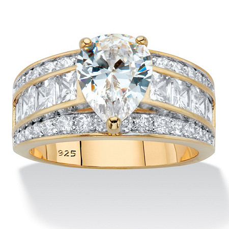 Pear-Cut and Princess-Cut Cubic Zirconia Engagement Ring 5.06 TCW in 14k Gold over Sterling Silver at PalmBeach Jewelry