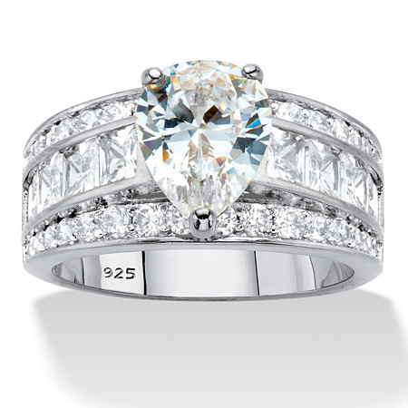 Pear-Cut and Princess-Cut Cubic Zirconia Engagement Ring 5.06 TCW in Platinum over Sterling Silver at PalmBeach Jewelry